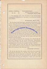 Edward Townsend signs General Order 89, mourning death of Martin Van Buren 1862