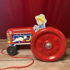 Schyling Toy Pull Tractor 2000 Giant Red Metal Wheels That Ring Like Bells