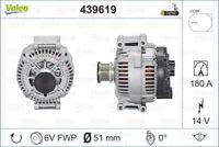 Valeo Alternator 12V 180A 439619 fits Mercedes-Benz Valente 111 CDI (W639), 1...