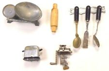 Dollhouse Miniature Kitchen Rolling Pin,Toaster,Grinder,Scales,Spoons Lot of 5