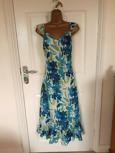 """Adini Size UK18-20 lined Chiffon Fit & Flare Dress in Turquoise mix  BUST 46"""""""
