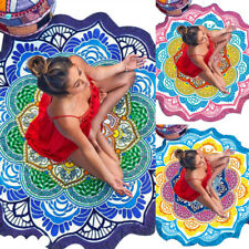 Colorful India Mandala Print Beach Towel Swim Wrap Towel Yoga Mat Round