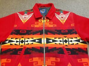 VTG PENDLETON High Grade Western Wear Aztec Southwestern Wool Jacket Red XXL USA