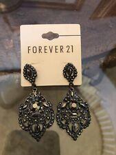 New Forever 21 Vtg Dangle Drop Gray Gunmetal Rhinestone Earrings