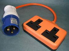 UK EU Camping Caravan Plug Generator-Adapter Fly-Lead TWIN socket cable 2G 16A