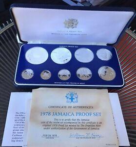 JAMAICA 9 COINS SET 1978 SILVER ORIGINAL OFFICIAL CASE