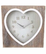Wooden Heart Lime Wash Mantle Love Heart Clock