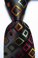 New Classic Checks Black Red Gold JACQUARD WOVEN 100% Silk Men's Tie Necktie