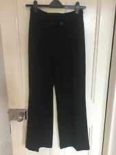 Monsoon Smart Black Work Trousers, Button Feature, UK Size 10