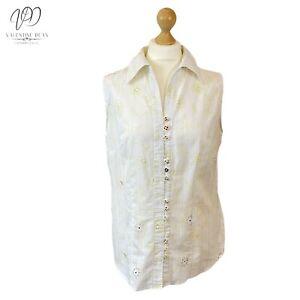 Sixt Sense By C&A Women White Sleeveless Shirt Cotton Floral Size 16 Uk
