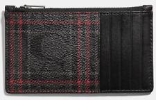 COACH 'Signature Plaid' Men's Coated Canvas Zip Card Case & Valet Box Set *NWT*