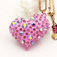 Betsey Johnson Enamel Crystal Big Love Heart Pendant Sweater Chain Necklace Gift