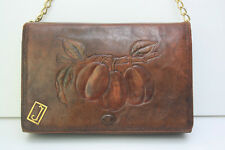 VINTAGE 1920s Arts & Crafts Embossed Tooled Leather Clutch Art Deco Shoulder Bag