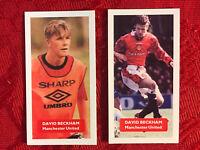 DAVID BECKHAM FOOTBALL-SOCCER CARDS MANCHESTER UNITED-RARE U.K. ISSUE-2 LOT-MINT