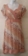 Women's Pink Coral White Print Dress Size 14W by Beautiful! Plus Sweetheart Neck