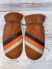 Vintage Orange Striped Warm Winter Mittens Ski Snow Gloves 70's 80's Women's OS
