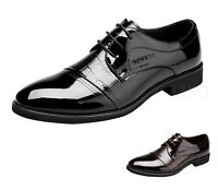 Men Business Leather Shoes Dress Formal Oxfords Classic Pointy Toe Wings Lace up
