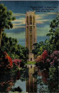 Postcard Singing Tower Night Time Mountain Lake Sanctuary Lake Wales Florida *