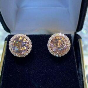 4.00 Ct Round Cut Morganite & Diamond Halo Stud Earrings 14K Rose Gold Over