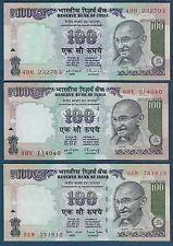 India 100 Rupees 3Pcs Set, 1996, P 91c 91d 91i, UNC