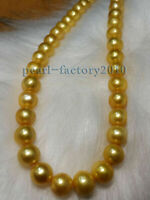 """NATURAL 18"""" AAAA 9-10 MM  SOUTH SEA GENUINE golden PEARL NECKLACE 14K Gold Clasp"""