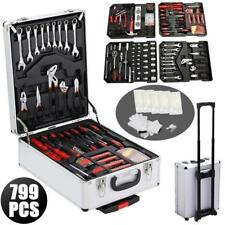 799 pcs Tool Set Kit Mechanic Wrenches Socket Aluminum Trolley 4 Trays Case Box