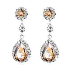Chandelier Crystal Rhinestone Dangle Drop Statement Earrings Yellow