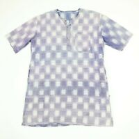 Vtg Band Collar Tunic Popover Shirt Mens XL Sun Faded Purple Distressed Soft