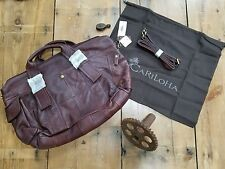Cariloha Brown Womans Purse Burgundy Leather Large Tote Shopper Shoulder Bag New