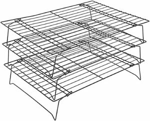 3 Tier Kitchen Stacking Cooling Tray Rack Biscuits Cakes Pastry Home Bakeware
