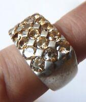 Bague chevalière ancienne en ARGENT massif et pierres  Art Deco silver ring