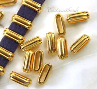 TierraCast Deco Slider Crimp Beads, Gold Plated Lead Free Pewter, 2 Pcs, 0525