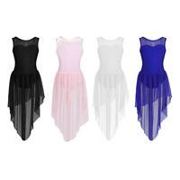 Kid Girls Cutout Back Lyrical Dance Dress Praise Spirit Leotard Skirt Dancewear