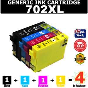 4x Ink Cartridge 702 XL 702XL for Epson Workforce PRO WF-3720 WF-3725 WF-3730 HY