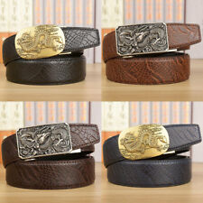 Men Dragon Head Automatic Buckle Leather Cowhid Belt Waistband Waist Accessories