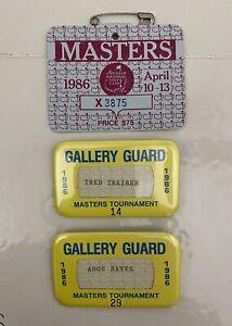 1986 Masters Tournament Ticket &  Badges / Jack Nicklaus Winner