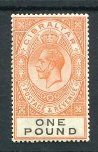 Gibraltar 1925-32 £1 red-orange and black SG107 fine MLH