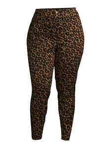 Terra & Sky Women's Plus Size Super Soft Leopard Jeggings 2X (20W-22W)