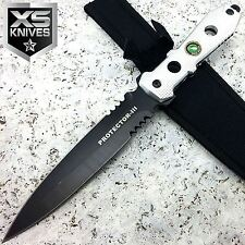 "12"" TACTICAL DUEL EDGE Fixed HUNTING COMBAT KNIFE FULL TANG SILVER HANDLE"