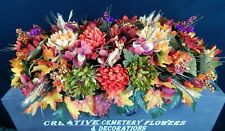 Fall Memorial Cemetery Flower Double Headstone Saddle