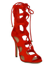 Red Gladiator Women's Sandals Ankle High Heel Lace Up Open Toe Shoes US 8.5M