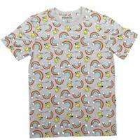 Mens Grey Heather Woodstock Rainbow All Over Print Peanuts Graphic Tee T Shirt