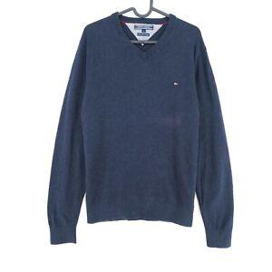 Tommy Hilfiger Navy Blue V Neck Cotton Cashmere Blend Sweater Pullover Size M