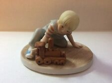 "Rare 1984 Roman Abbie's Children Figurine 'Casey' - Boy with Choo Choo Train 3"""