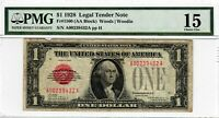 1928 $1 Fr#1500 Legal Tender United State Note PMG F-15 Red Seal Funny Back 2005