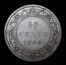 1900 - NEWFOUNDLAND 50 CENT HALF DOLLAR - VICTORIA - .925 SILVER