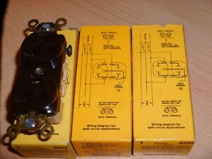 LOT 3 - Hubbell 5252 Brown Duplex Receptacle - HBL5252 - 15A 125V - NEW