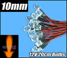 100pcs x 10mm Round LED Pre Wired Lights 12V 20cm Bulbs Lamp Orange