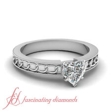 Half Carat Heart Shaped Diamond Chain Pattern Solitaire Milgrain Engagement Ring