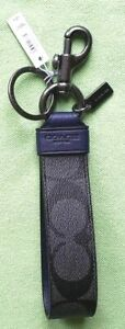 COACH LARGE LOOP KEY FOB IN SIGNATURE CANVAS:NWT CHARCOAL SIGNATURE F79882